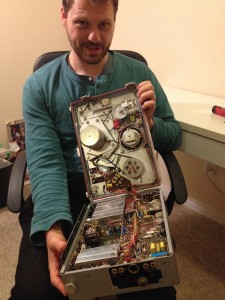 Sound designer Noah Drew, after carefully opening up the Nagra recorder.